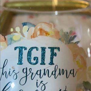 TGIF-This Grandma is Fabulous wine glass w/glitter